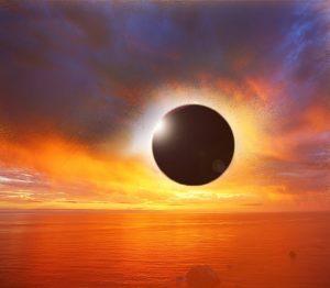 solar eclipse, sunset, eclipse